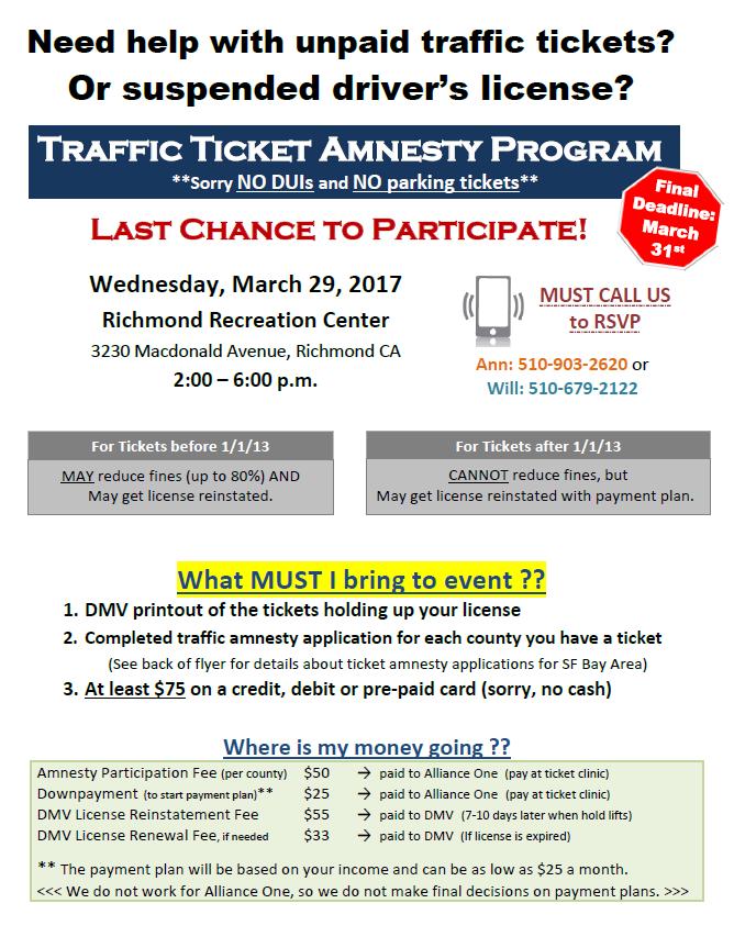 Traffic Ticket Amnesty Clinic - Bay Area Legal Aid