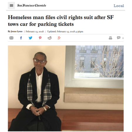 SF Chronicle: Homeless man files civil rights suit after SF tows car for parking tickets