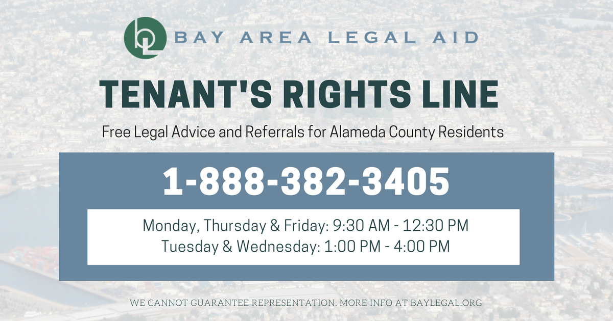 Bay Area Legal Aid launches Alameda County Tenant's Rights Line