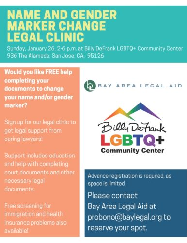 Name and Gender Marker Change Legal Clinic @ Billy DeFrank LGBTQ+ Community Center | San Jose | California | United States