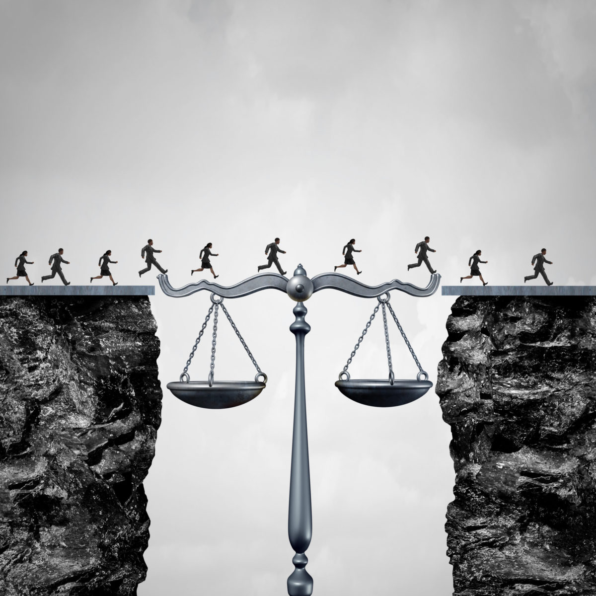 group of lawyers or corporate businessmen and businesswomen crossing two cliffs with the help of a justice scale acting as a bridge to legal services