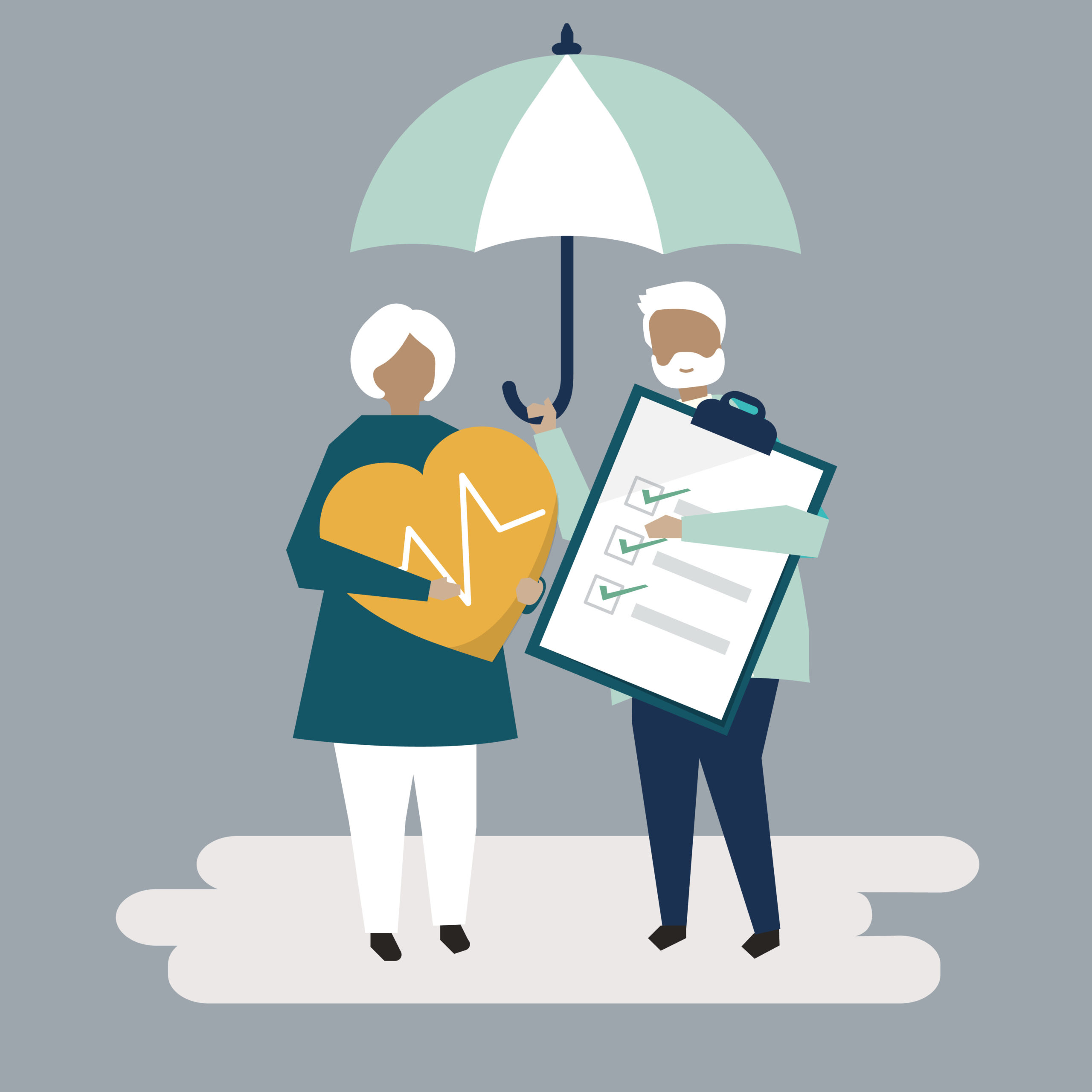 Two cartoon seniors stand under an umbrella, one holding large cut-out heart and the other a chart