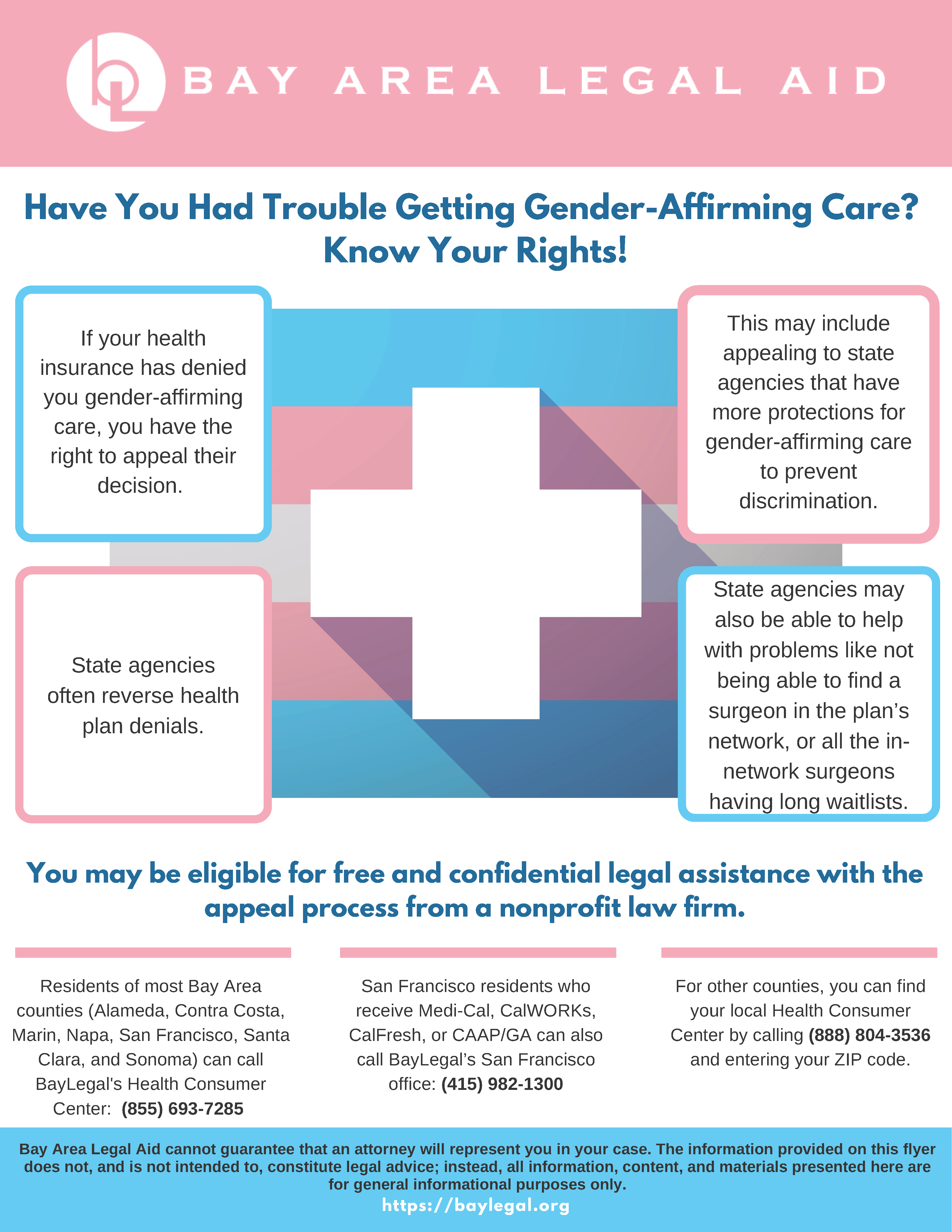 Image of flyer listing legal resources related to gender-affirming healthcare and denials of coverage